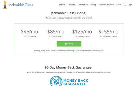 Screenshot of Pricing Page jackrabbitclass.com - Fees & Pricing for Jackrabbit Class Management Software - captured March 14, 2018