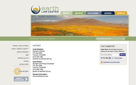 Screenshot of Contact Page earthlawcenter.org - Earth Law Center - Contact - captured Oct. 22, 2014