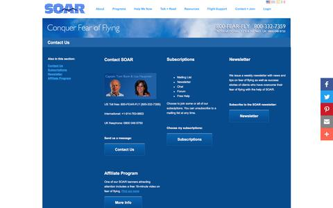 Screenshot of Contact Page fearofflying.com - Fear of Flying - Contact Us - SOAR - captured Nov. 18, 2016