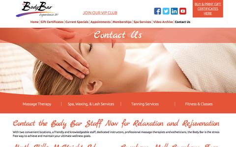Screenshot of Contact Page bodybarexperience.com - Contact Us   Body Bar Fitness and Spa - captured Feb. 15, 2016
