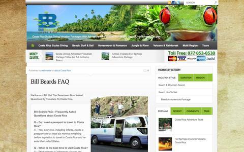 Screenshot of FAQ Page billbeardcostarica.com - Bill Beards FAQ - Costa Rica Scuba Diving Adventure with Bill Beard'sCosta Rica Scuba Diving Adventure with Bill Beard's - captured Feb. 18, 2016