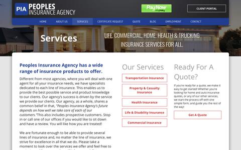 Screenshot of Services Page peoples-insurance.com - Trucking Insurance Services And More at Peoples Insurance - captured Sept. 27, 2018