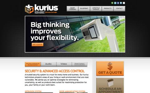Screenshot of Products Page kurius.ca - SECURITY & ADVANCED ACCESS CONTROL – kurius - Intelligent Homes and Buildings,  Do it once, Do it right. - captured Oct. 27, 2014