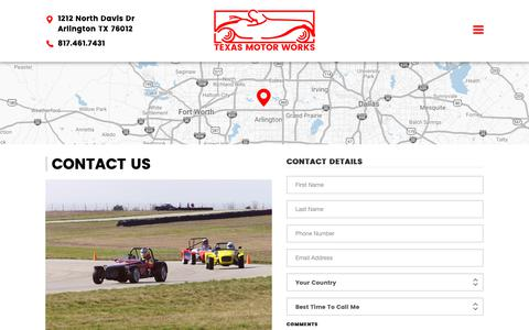 Screenshot of Contact Page texasmotorworks7.com - Contact Us | Texas Motor Works - captured Oct. 18, 2018