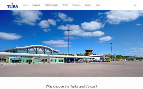 Screenshot of Home Page tciairports.com - Airports Authority – Turks and Caicos Islands - captured Oct. 18, 2018
