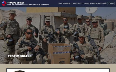 Screenshot of Testimonials Page troopsdirect.org - Troops Direct | When Our Troops Request It, We Supply It - captured July 13, 2018
