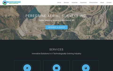 Screenshot of Home Page pasi.ca - Peregrine Aerial Surveys   Digital Mapping Services - captured Jan. 27, 2016