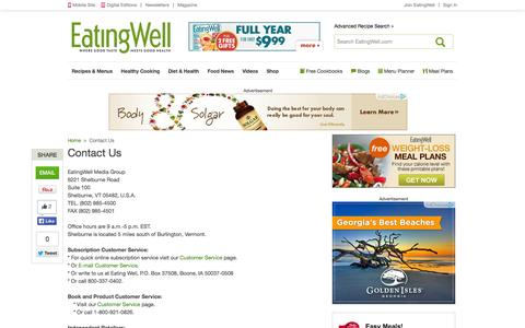 Screenshot of Contact Page eatingwell.com - Contact Us | Eating Well - captured Sept. 15, 2014