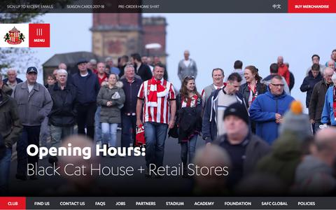 Screenshot of Hours Page safc.com - Black Cat House + Retail Stores - SAFC - captured June 21, 2017