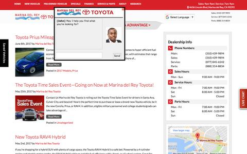 Screenshot of Blog marinadelreytoyota.com - Marina del Rey Toyota Blog | Toyota Dealer - captured Jan. 19, 2018