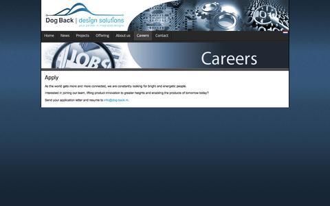 Screenshot of Jobs Page dog-back.com - Dog Back   design solutions - Emmen - Careers - captured Nov. 24, 2016