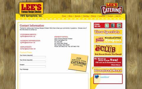 Screenshot of Contact Page leeschicken.net - FRFC Lee's Famous Recipe Chicken   » Contact FRFC Lee's Famous Recipe Chicken - captured Oct. 2, 2014