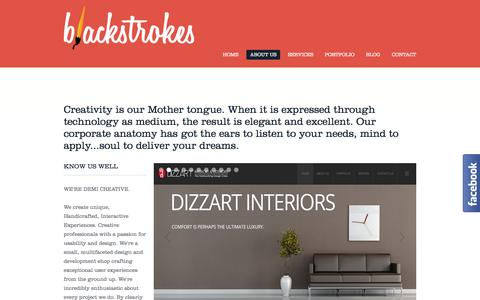 Screenshot of About Page blackstrokes.com - Web design company kerala | web design cochin | web design kerala | kerala web design | best web design company india | website design company india | web designing company india - captured Sept. 19, 2014