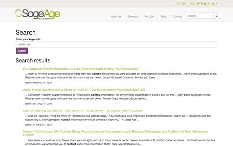 Screenshot of sageagestrategies.com - Search | Sage Age Strategies - captured Aug. 2, 2015