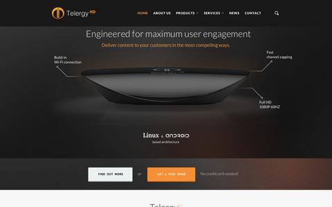 Screenshot of Home Page telergyhd.com - Telergy HD - High Quality Set-Top Boxes - captured Sept. 30, 2014