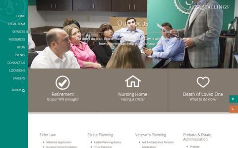 Screenshot of Services Page alerstallings.com - Estate Lawyers Cleveland/Columbus | Affordable Estate Planning Lawyers - captured Oct. 7, 2017