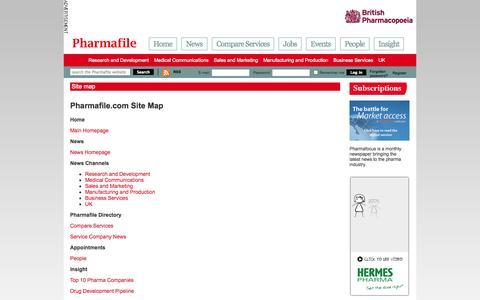 Screenshot of Site Map Page pharmafile.com - Site map | Pharmafile - captured Nov. 2, 2014