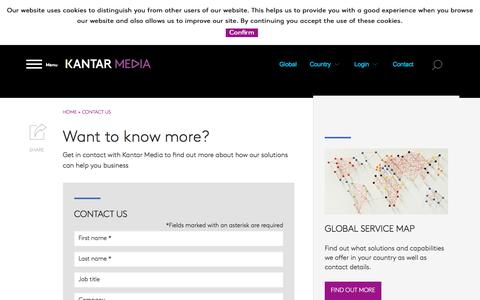 Screenshot of Contact Page kantarmedia.com - Contact Us | Kantar Media - captured Sept. 12, 2016
