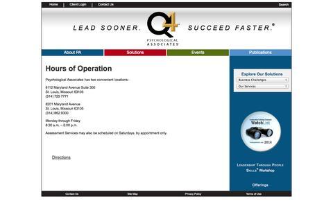Screenshot of Hours Page q4solutions.com - Psychological Associates - captured Oct. 1, 2014