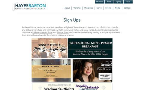 Screenshot of Signup Page hbumc.org - Hayes Barton United Methodist Church | Sign Ups - captured Sept. 27, 2018