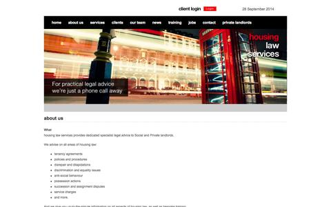 Screenshot of About Page housinglawservices.co.uk - About Us | Housing Law Services - captured Sept. 30, 2014