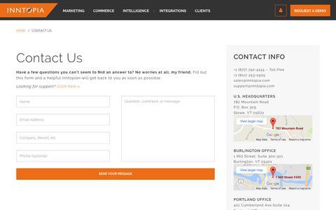 Screenshot of Contact Page inntopia.com - Contact Us   Inntopia - captured Jan. 11, 2018