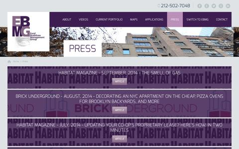 Screenshot of Press Page ebmg.com - Press | New York City Cooperative and Condominium Property Management - captured Oct. 3, 2014