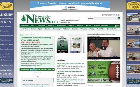 Screenshot of Home Page newcastle-news.com - Newcastle News – News , Sports, Classifieds in Newcastle, WA - captured Oct. 10, 2015