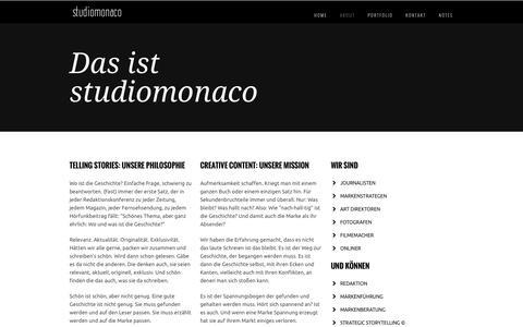 Screenshot of About Page studiomonaco.de - studiomonaco creative content agentur münchen corporate publishing storytelling timour chafik | studiomonaco - creative content - captured Oct. 9, 2014