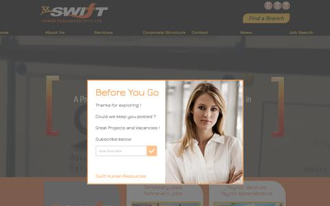 Screenshot of Home Page swifthr.co.za - Human Resources | Employment Agency | Payroll - captured Dec. 1, 2016