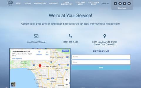Screenshot of Contact Page cloud19.com - Contact | Cloud 19 Media - captured Sept. 28, 2018