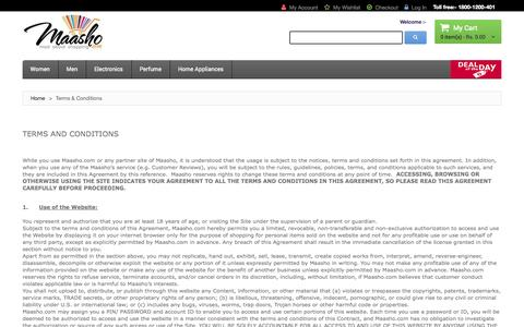 Screenshot of Terms Page maasho.com - Terms & Conditions - captured Sept. 24, 2014