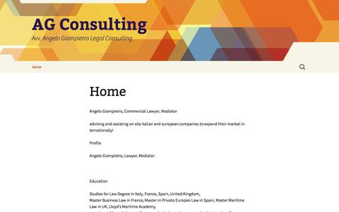 Screenshot of Home Page ag-consulting.it - AG Consulting   Avv. Angelo Giampietro Legal Consulting - captured Sept. 30, 2014