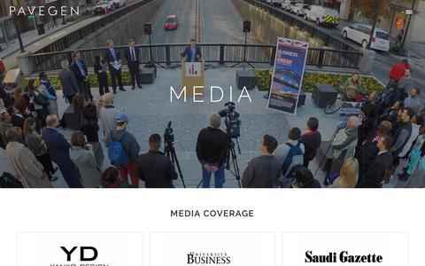 Screenshot of Press Page pavegen.com - Pavegen   media - captured May 30, 2019