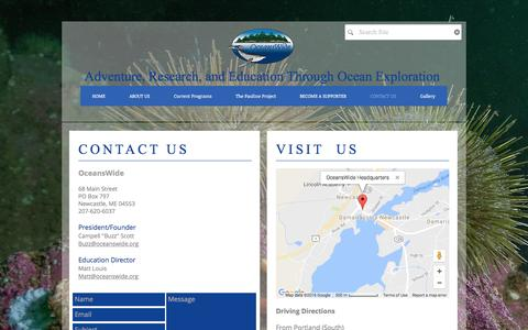 Screenshot of Contact Page oceanswide.org - contact us - captured Nov. 19, 2016