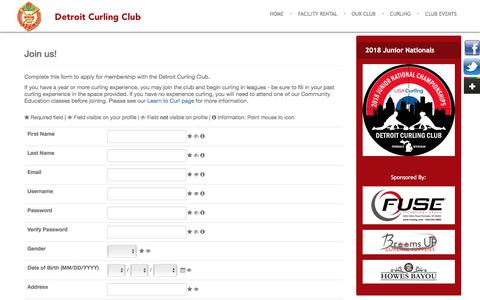 Screenshot of Signup Page detroitcurlingclub.com - Sign up - captured Aug. 6, 2018