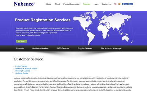 Screenshot of Support Page nubenco.com - Nubenco | Customer Service - captured Oct. 22, 2017