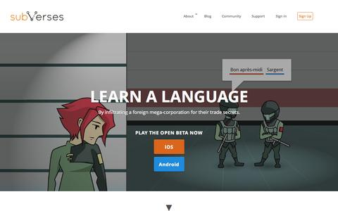 Screenshot of Home Page subvers.es - Subverses | Language Learning Game - captured Aug. 16, 2015