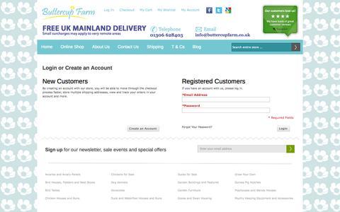 Screenshot of Login Page buttercupfarm.co.uk - Customer Login - captured Oct. 5, 2014