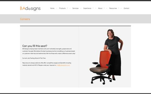 Screenshot of Jobs Page badesignsllc.com - Careers - BA DesignsBA Designs - captured Sept. 30, 2014