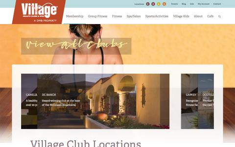 Screenshot of Locations Page villageclubs.com - Village Health Clubs & Spas - Fitness Centers in Greater Phoenix - captured Oct. 29, 2017