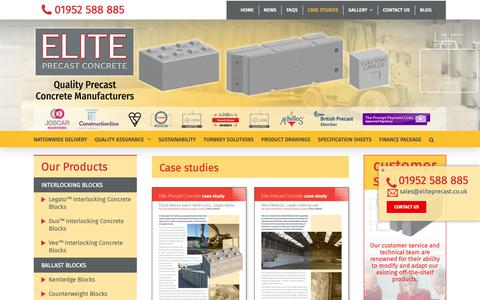 Screenshot of Case Studies Page eliteprecast.co.uk - Case studies - Elite Precast Concrete - captured Sept. 27, 2018