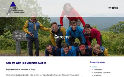 Screenshot of Jobs Page foxmountainguides.com - Careers - Fox Mountain Guides & Climbing School - captured Nov. 25, 2016