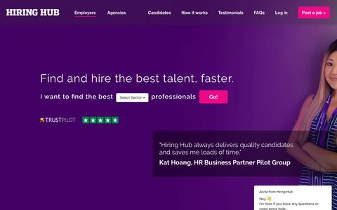 Screenshot of Home Page hiring-hub.com - HIRING HUB™ Recruiting is easy on the UK's #1 recruitment marketplace - captured July 20, 2018
