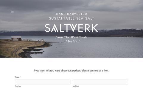 Screenshot of Contact Page saltverk.com - Contact — SALTVERK - captured July 22, 2016