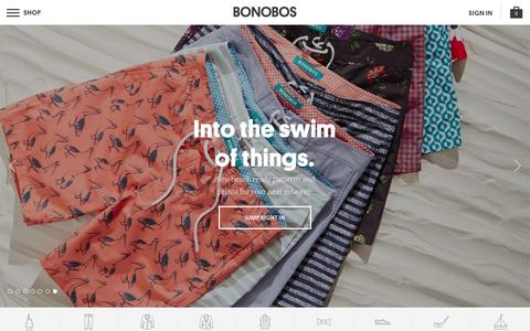 Screenshot of Home Page bonobos.com - Better-Fitting, Better-Looking Men's Clothing & Accessories | Bonobos - captured Feb. 13, 2016