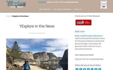 Screenshot of Press Page yexplore.com - YExplore in the News | Media Coverage of Yosemite - captured Nov. 17, 2016