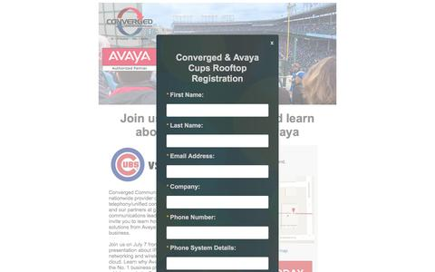 Screenshot of Landing Page convergedsystems.com - Converged and Avaya Cubs Rooftop Event - captured Aug. 17, 2016