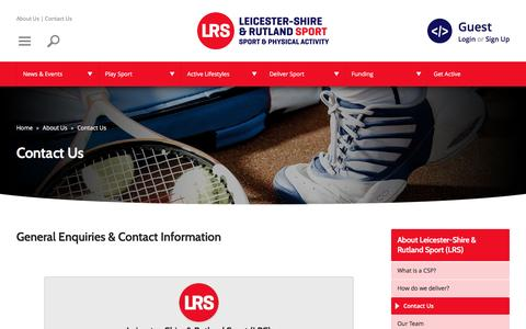 Screenshot of Contact Page lrsport.org - Contact Us | Leicester-Shire & Rutland Sport - captured Jan. 15, 2017
