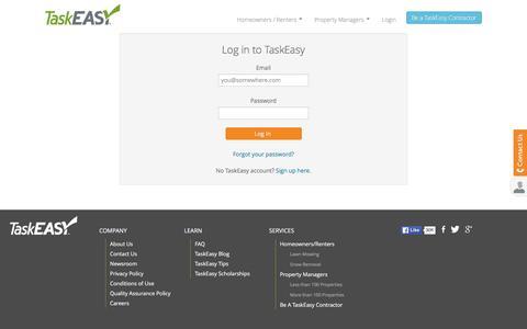 Screenshot of Login Page taskeasy.com - TaskEasy - Log In - captured Feb. 21, 2016